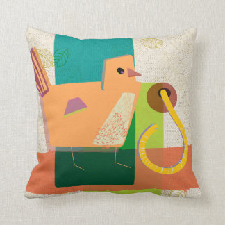 Funny Bird and the Curious Worm Throw Pillow