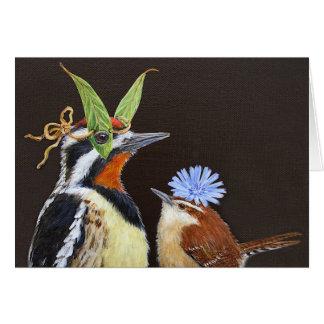 Funny bird  card with sapsucker
