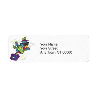 funny bird flying south vacation custom return address labels