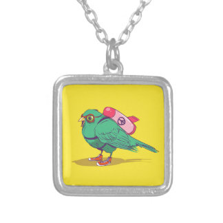 Funny bird silver plated necklace