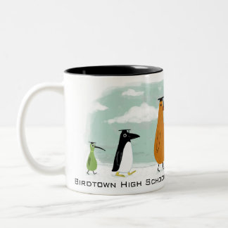 Funny Birds Graduation Procession with Custom Text Two-Tone Coffee Mug