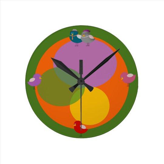 Funny Birds Retro Illustration Round Wall Clock