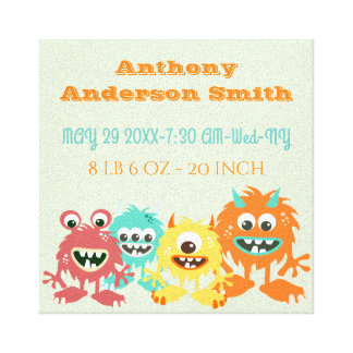 Funny birth photo stats canvas print