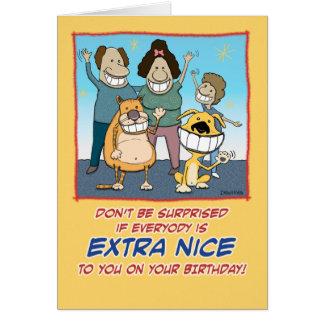Funny birthday card: Extra Nice Card