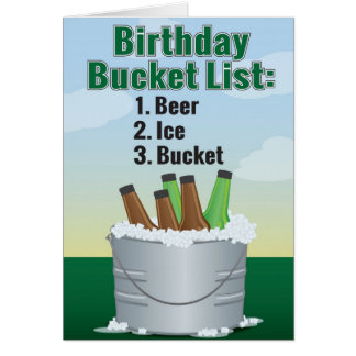 Funny Birthday Card for man - Beer bucket list
