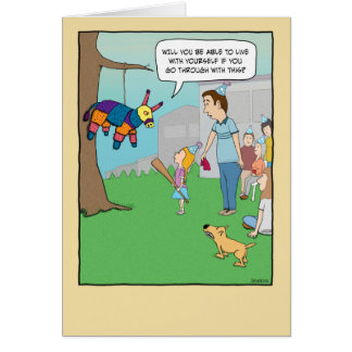 Funny birthday card: Girl vs. Pinata Card