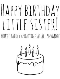 funny birthday card humorous card for sister