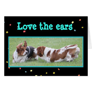 Funny Birthday Card of Basset with Flying Ears