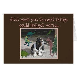 Funny Birthday Card w/Basset Hound & Dinosaurs