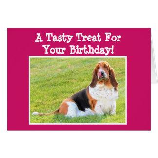 Funny Birthday Card w/Cute Basset Hound and Bone