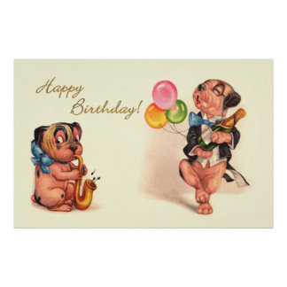 Funny Birthday Dogs Poster