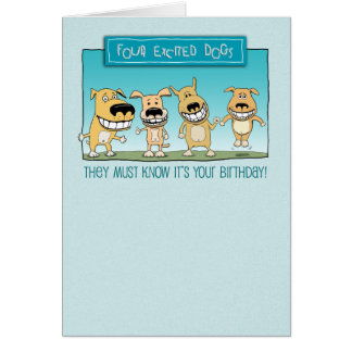 Funny Birthday: Excited Dogs Card