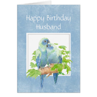 Funny Birthday for Husband Parrot Couple Birds Card