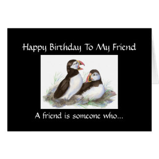Funny Birthday Friend - Puffin Bird Collection Card