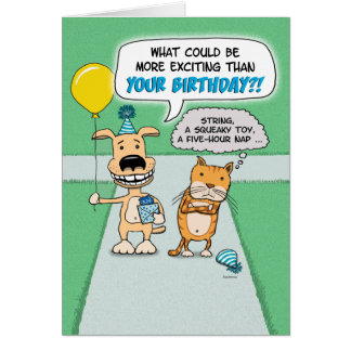 Funny birthday: Happy Dog and Grumpy Cat Card