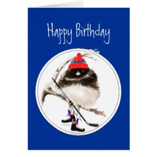 Funny Birthday Ice Hockey Winter Sport Bird Greeting Card