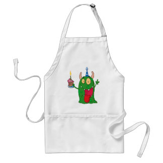 funny birthday monster cartoon character apron