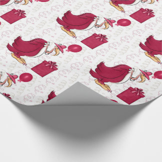 Funny Birthday Old Female Buzzard in Pink Wrapping Paper
