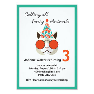 """Funny Birthday Party Animal - All Ages 5"""" X 7"""" Invitation Card"""