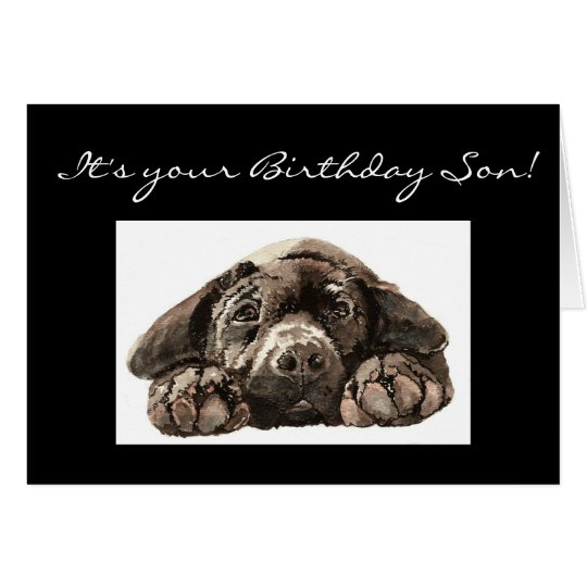Funny Birthday Son, Labrador Retriever Card