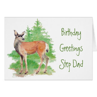 Funny Birthday Step Dad ,Someone Deer to my Heart Greeting Card