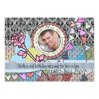 """Funny birthday template photo card- Brother-in-law 5"""" X 7"""" Invitation Card"""