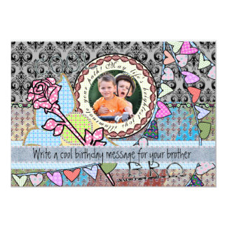 "Funny birthday template photo card - Brother 5"" X 7"" Invitation Card"