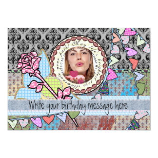 "Funny birthday template photo card - for her 5"" x 7"" invitation card"