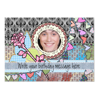 "Funny birthday template photo card for him 5"" x 7"" invitation card"