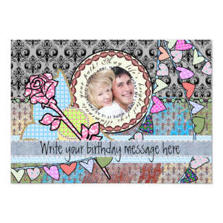 "Funny birthday template photo card - him or her 5"" x 7"" invitation card"