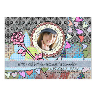 "Funny birthday template photo card - Sister-in-law 5"" X 7"" Invitation Card"