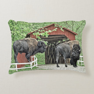 Funny Bison At The Covered Bridge Accent Pillow