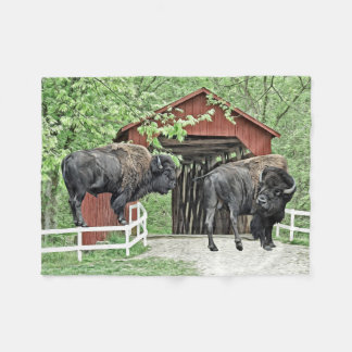 Funny Bison At The Covered Bridge Fleece Blanket