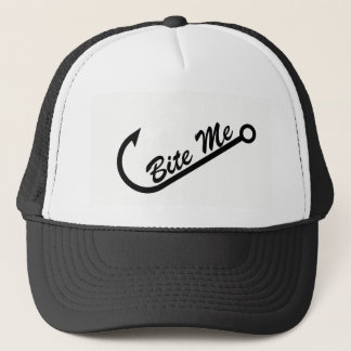 "Funny ""Bite Me"" & Fish Hook Trucker Hat"