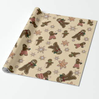 Funny Bitten Gingerbread Men Matte Wrapping Paper
