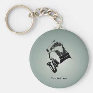 Funny Black and White Badger Saxophone Keychain