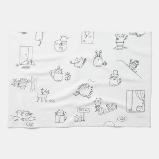 Funny black and white cat doodle kitchen towel
