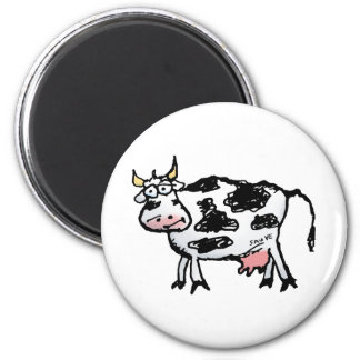 Funny Black and White Cow Cartoon Magnet