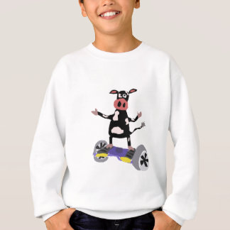 Funny Black and White Cow on Hoverboard Sweatshirt