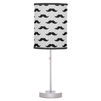Funny Black and White Mustaches Pattern Table Lamp