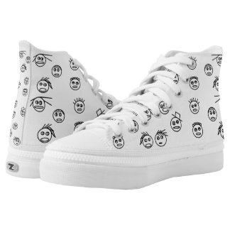 Funny Black and White Stick Man Faces Design High Tops