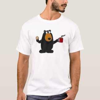 Funny Black Bear Eating Doughnut and Drinking T-Shirt