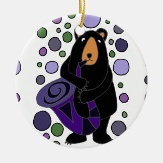 Funny Black Bear Playing Saxophone Art Round Ceramic Ornament