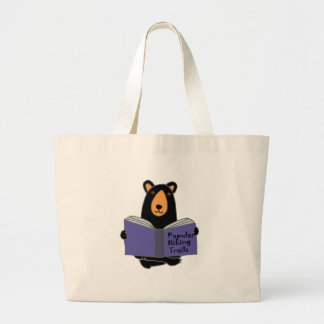 Funny Black Bear Reading about Hiking Trails Large Tote Bag