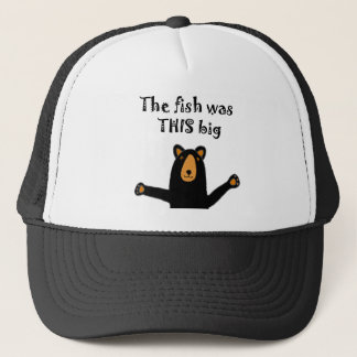 Funny Black Bear Telling Fish Story Trucker Hat