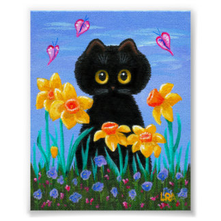Funny Black Cat Art Spring Daffodils Creationarts Poster