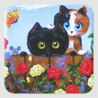 Funny Black Cat Calico Butterfly Creationarts Square Sticker