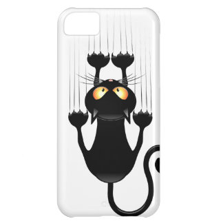 Funny Black Cat Cartoon Scratching Wall Cover For iPhone 5C
