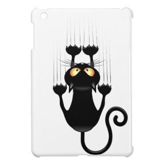 Funny Black Cat Cartoon Scratching Wall Cover For The iPad Mini