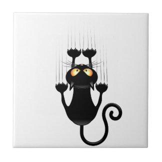 Funny Black Cat Cartoon Scratching Wall Tile